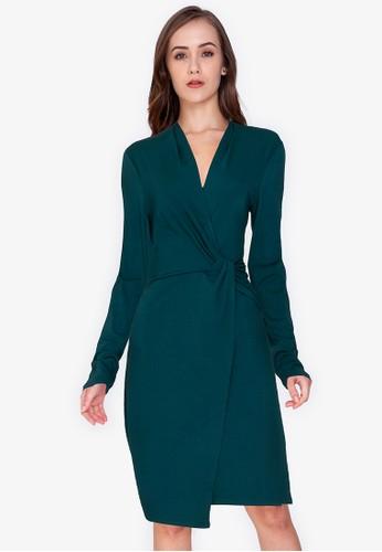 ZALORA WORK green Long Sleeve Wrap Dress B9090AA015AD53GS_1