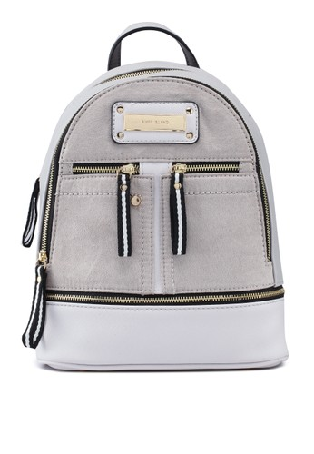River Island grey Double Zip Front Backpack BD051AC5689DCAGS_1