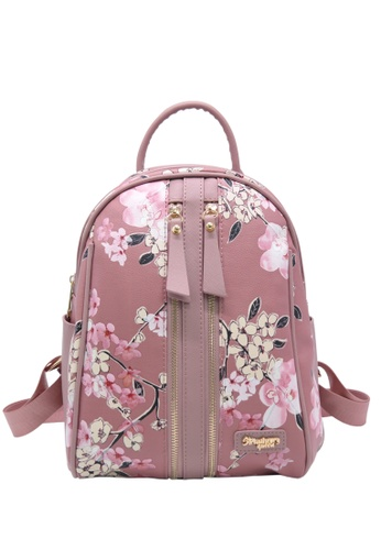 STRAWBERRY QUEEN pink Strawberry Queen Dual Front Zipper Floral Backpack - Candy (Floral AA, Pink) EE413ACAEE4683GS_1