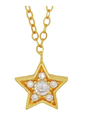 LITZ gold LITZ 916 (22K) Cubic Zirconia Gold Star Necklace F3879AC061EA1EGS_1