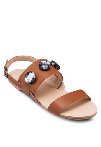 閃飾繞踝zalora taiwan 時尚購物網鞋子平底涼鞋, 女鞋, 鞋
