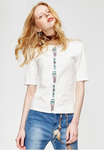 Hopeshow white and beige Loose Fit Embroidered Blouse HO442AA0FQSCSG_1