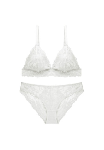 W.Excellence 白色 Premium White Lace Lingerie Set (Bra and Underwear) 31189USED4444EGS_1