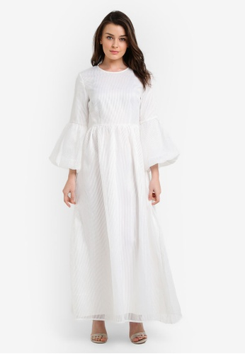 Zalia white Flock Fit & Flare Dress 9D545AAD743D0FGS_1
