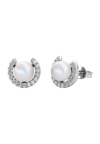 Her Jewellery 白色 Her Jewellery Cresent Pearl Earrings (White Gold) embellished with Crystals from Swarovski镶嵌施华洛世奇水晶 29BB1AC96F80A8GS_1