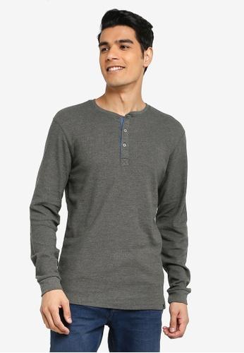 BLEND green Henley Collar Long Sleeve T-Shirt 500BBAAAA445D6GS_1