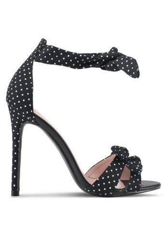 Velvet black Polka Dot Bow Heels 288ACSH16EEF56GS_1