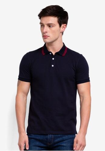 UniqTee 海軍藍色 Double Striped Collar Polo Shirt EF72EAA8A68018GS_1