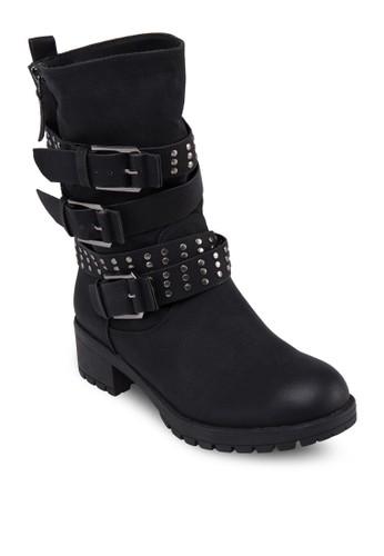鉚釘飾帶中筒靴, 女鞋zalora 心得, 鞋