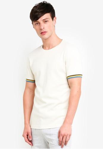 UniqTee white Striped Cuff Slim Fit T-Shirt 09641AA61CCF8DGS_1