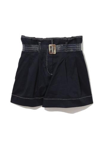 b+ab navy Buckle belt chino shorts C6139AAAEB3141GS_1