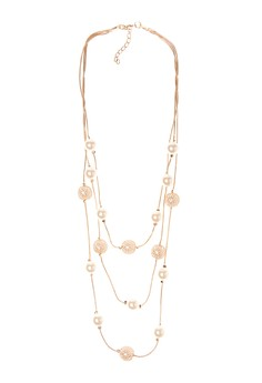 PearlW/ Gold Balls necklace