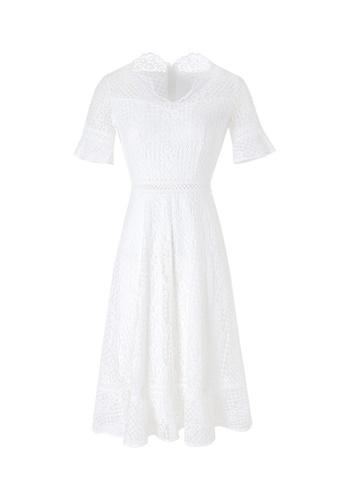 HAPPY FRIDAYS Temperament Solid Color Hollow Dress 63317 E28CDAA67550F6GS_1