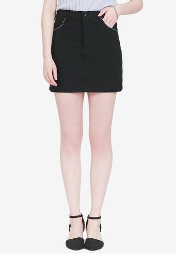 Yoco black Mini Skirt With Checked Trim D0D58AA34A1B42GS_1