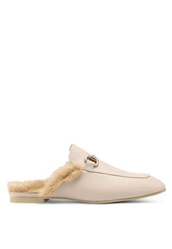 Carlton London beige Fur Backless Loafeers 7E43BSH4E5D9C9GS_1