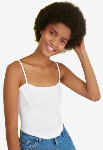 Trendyol white Strappy Knit Top 2D16AAA84DE285GS_1