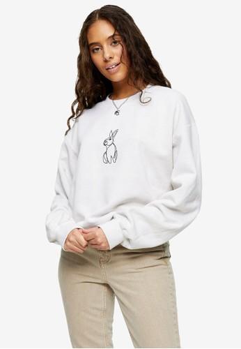 TOPSHOP multi PETITE Stone Rabbit Line Sweatshirt B3CB2AA657CC2AGS_1