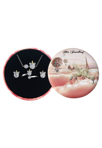 Her Jewellery silver Unicorn Set 3 in 1 (Pendant Earring Ring) - set Crystal Swarovski by Her Jewellery 73498AC410A5B9GS_1