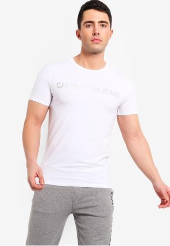 Calvin Klein 白色 金屬感修身短袖T恤 25681AA89E23C4GS_1