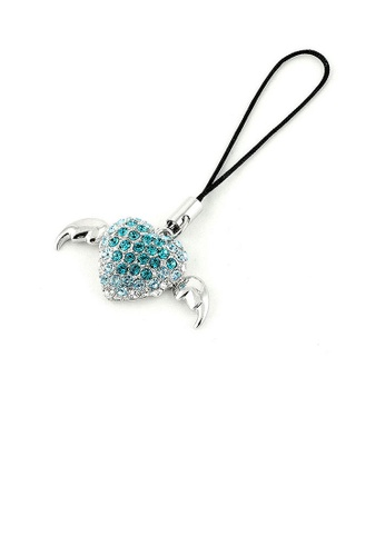 Glamorousky blue Black Strap with Winged Heart Charm in Blue and Silver Austrian Element Crystals FCA06AC0487301GS_1