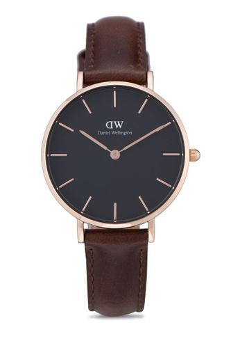 Daniel Wellington brown and gold Classic Petite Bristol Watch DA376AC66PLLMY_1