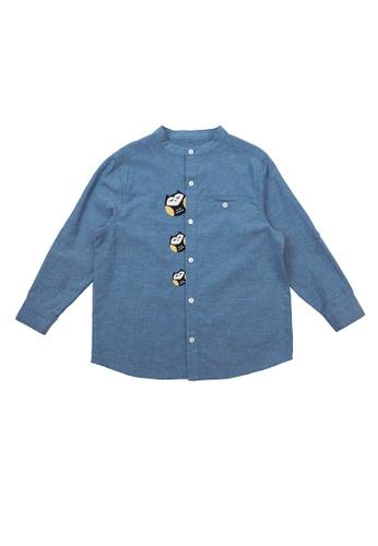 Vauva blue Vauva Little Three Owls Casual Shirt - Navy 537EBKA0003AB5GS_1