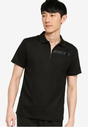 ZALORA BASICS black Contrast Trim Half Zip Polo Shirt 6234BAA2D45A73GS_1