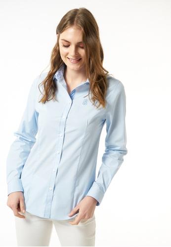 Jimmy Sanders 藍色 Jimmy Sanders Women's Plain Shirt 8CBEBAAA30D48EGS_1