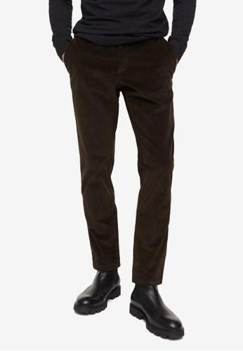 MANGO Man green Tapered Fit Crop Corduroy Trousers D53CCAA8D4D65DGS_1