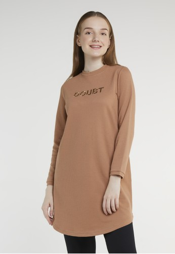 COME brown Casual Textured Knit Dress 574 Almond CC225AA68A4CDEGS_1
