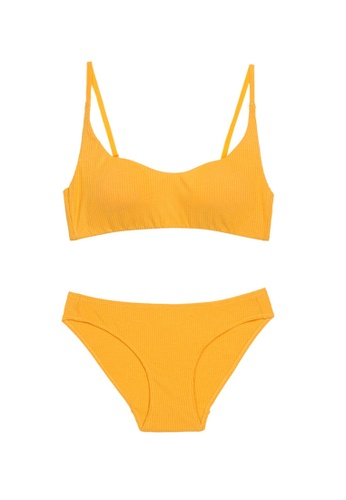 ZITIQUE yellow Young Girls' Vintage Simple Design Demi-Cup No Steel Ring Lingerie Set (Bra And Underwear) - Yellow 287A7US37793E9GS_1