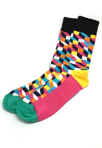 Splice Cufflinks multi Zig Zag Series Multi Colour Swirl Design Socks SP744AA56JCDSG_1