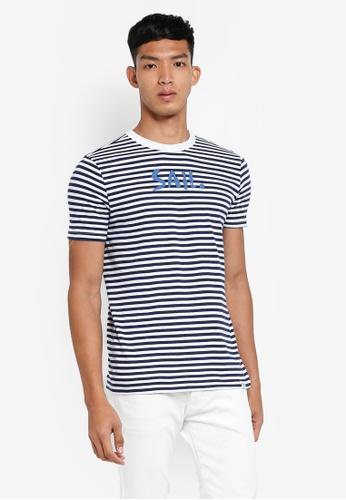 OVS 白色 休閒條紋T恤 5C3FEAAC6107B5GS_1