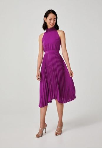 Love, Bonito purple Belinda Pleated Halter Neck Dress 23681AA9AC4C17GS_1