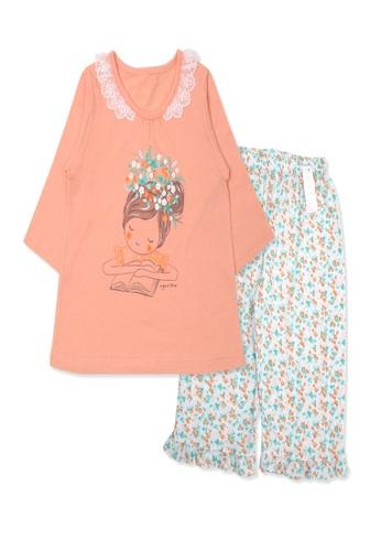 Organic mom orange Organic Cotton  Kathrine Floral 3/4 Sleeves Pjs FF32AKAF2F35ACGS_1