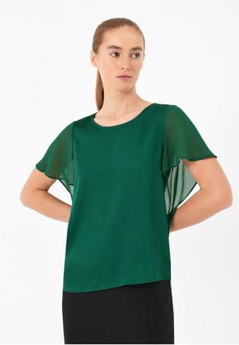 FORCAST green FORCAST Delia Flutter Sleeve Blouse 9B16EAA2D7B79CGS_1