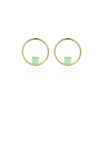 Glamorousky green 925 Sterling Silver Plated Gold Simple Fashion Geometric Round Stud Earrings with Green Opal 90279AC7A59636GS_1
