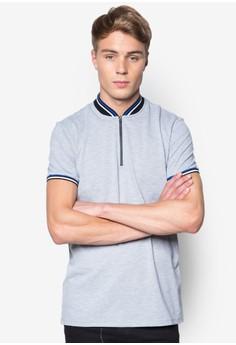 Contrast Rib Collared Zipper Polo Shirt