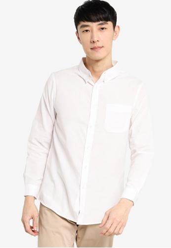 ZALORA BASICS white Regular Fit Button Down Oxford Shirt 680A9AA562D11FGS_1