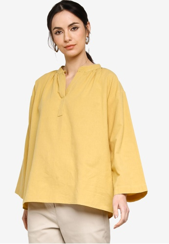 ZALIA BASICS yellow Oversize Placket Blouse 5060CAA3BD6AF3GS_1