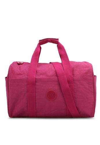Bagstationz pink Crinkled Nylon Fabric Travel Duffel Bag BA607AC0SYRJMY_1
