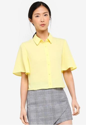 ZALORA BASICS yellow Basic Flutter Sleeves Blouse 34B2FAA5B65B36GS_1