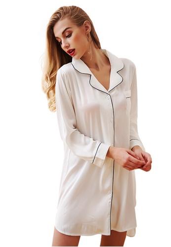 LYCKA 白色 LCB8013-女士一件式居家休閒睡衣-白色 9CAA5AA19A8DE4GS_1