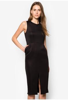 Collection Front Slit Sheath Midi Dress