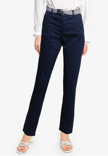Springfield blue Belted Chino Trousers FE80AAA9EFF04AGS_1