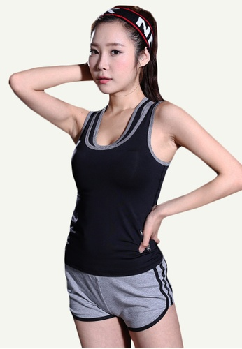 B-Code black ZYG5147-Lady Quick Drying Running Fitness Yoga Sports Tank Top and Shorts Two Pieces Set-Black 8725FAA77565F9GS_1