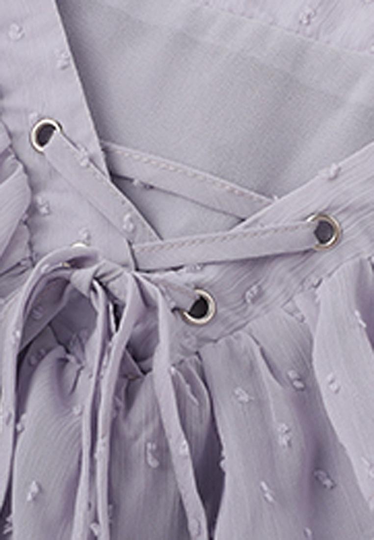 Blouse Halo Sleeves purple OL Flared Ruffle 4wT4I