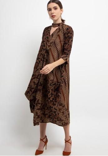 Batik First brown Dress Maxi CS3 Asymmetric TieButton+Lining 66236AAD9080F2GS_1