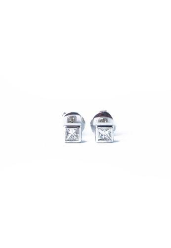 CEBUANA LHUILLIER JEWELRY silver 14 Karat White Gold Princess Cut Earrings With Diamond 40836AC1C95172GS_1