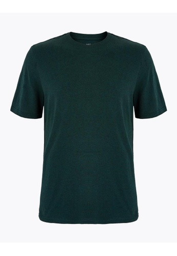 MARKS & SPENCER green M&S Pure Cotton Crew Neck T-Shirt 873E3AA90D9146GS_1